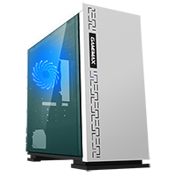 Game Max Expedition White Gaming Matx PC Case Rear LED Fan & Full Side Window - Click below for large images