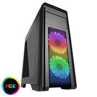 Game Max Falcon Black Mid-Tower PC Gaming Case with 2 x RGB Front Fans & Remote Control - Click below for large images