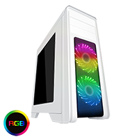 Game Max Falcon White PC Gaming Case with 2 x RGB Front Fans & Remote Control - Click below for large images