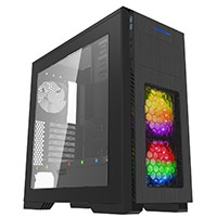 Game Max Kallis Black Gaming Case 2x RGB LED Front 1x Rear Fan & Strip & Window - Click below for large images