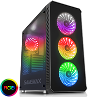 Game Max Moonstone RGB Full Tower 4x12cm RGB Fans 2x Side 1x Front Glass Panels  - Click below for large images