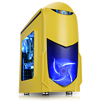 Game Max Nero Yellow MATX Case with Front 12cm Blue LED Fan USB3 and Side Window - Click below for large images