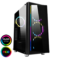 GameMax Osmium Mid-Tower Gaming Case With 4x12cm Spectrum Dual-Ring Fans 1 x RGB Strip Front and Tempered Glass - Click below for large images