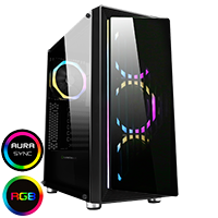 Game Max Osmium Mid-Tower Gaming Case With 4x12cm Spectrum Dual-Ring Fans 1 x RGB Strip Front and Tempered Glass - Click below for large images