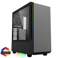 GameMax Panda Black ARGB Gaming Case 3x ARGB Strips 1x ARGB fan 1x ARGB Hub - Click below for large images
