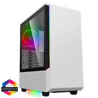 GameMax Panda White ARGB Gaming Case 3x ARGB Strips 1x ARGB fan 1x ARGB Hub - Click below for large images