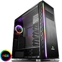 Game Max Precision Full Tower Gaming Case Tempered Side RGB Controller Double Rainbow Ring - Click below for large images