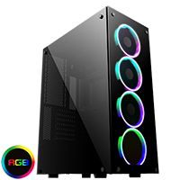 Game Max Predator RGB Full Tempered Glass Gaming Case MB SYNC 3pin - Click below for large images