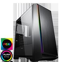 GameMax Saber Midi inc Spectrum RGB Hub 3 Pin AURA Glass Side Panel No Fans - Click below for large images