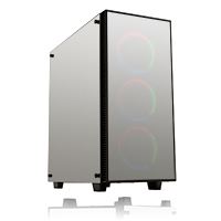 Game Max Sapphire RGB Mid-Tower 2 x USB3 Tempered Glass Mirror Sides and Front  - Click below for large images