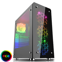 GameMax Sirius Black Mid-Tower RGB 4 x 12cm RGB Fans Tempered Glass Side & Front Panels - Click below for large images