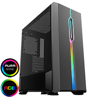 GameMax Solar Black RGB Midi Tempered Glass Gaming Case MB SYNC 3pin - Click below for large images