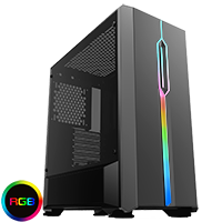 Game Max Solar Black RGB Midi Tempered Glass Gaming Case MB SYNC 3pin - Click below for large images