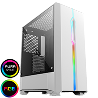 Game Max Solar White RGB Midi Tempered Glass Gaming Case MB SYNC 3pin - Click below for large images