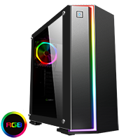 Game Max Starlight RGB Mid-Tower Gaming Case Rainbow Strip and Rear Fan Sync Hub Glass Side Panel - Click below for large images