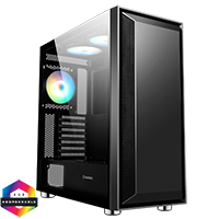 GameMax Stealth Gaming Case 3x ARGB Fan+Hub+MB Sync TG Side Panel - Click below for large images