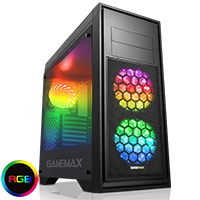 GameMax Titan Black Mid-Tower PC Gaming Case with 2 x RGB Front 1 x Rear Fans & Remote - Click below for large images