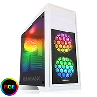 Game Max Titan White PC Gaming Case with 2 x RGB Front 1 x Rear Fans & Remote - Click below for large images