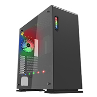 Game Max Vega Black Case With RGB Strip & PWM Controller Tempered Glass Sides - Click below for large images
