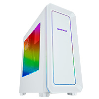 Game Max Vegas White with 2 x 12cm Front Fans with 7 Colour LED Facia - Click below for large images