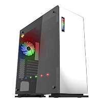 Game Max Vega White Full Tower Case With RGB Strip & PWM Controller Tempered Glass Sides - Click below for large images