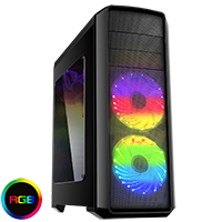 Game Max Volcano Gaming Black PC Case 2 x RGB Front Fans & Remote Control - Click below for large images