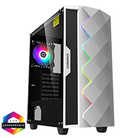 GameMax Diamond White ARGB Gaming Case 1 x ARGB Fan 1 x ARGB LED Strip - Click below for large images