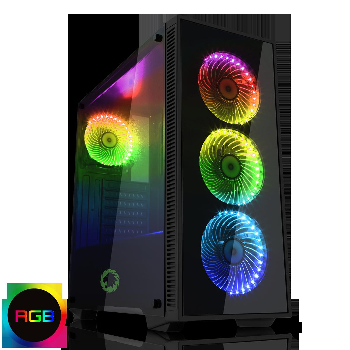 GAMEMAX Draco Black RGB 4 x 12cm RGB Fans Tempered Glass Side & Front Panels