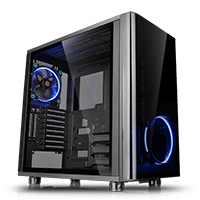 Thermaltake View 31 Tempered Glass Edition Mid Tower 2x140mm Blue Riing Fans - Click below for large images