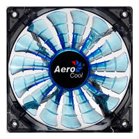 Aerocool Shark 12cm Quad Blue LED Fan 15 Blade Fluid Dynamic Bearing 12.6dBA - Click below for large images