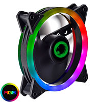 Game Max Dual Ring 16 LED 120mm Rainbow RGB Fan for Shadow & Phantom 6pin - Click below for large images