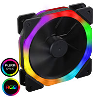 CiT Cosmic Halo Dual Ring Rainbow RGB 120mm Fan with 5V Addressable 3pin Header 3pin Power - Click below for large images