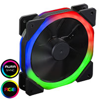 CiT Halo X Dual Ring RGB LED 12V Fan 4pin Plus 3pin Power Connector - Click below for large images