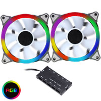 *Rainbow PWM Fan Controller 6pin with 2 x Rainbow RGB Ring 120mm Fans - Click below for large images