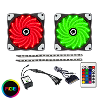 Game Max RGB Kit 2x Fans 2x LED Strips Remote Control and Sata Power Connection  - Click below for large images