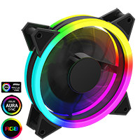 Game Max Velocity 12cm Rainbow ARGB Fan RTB 3pin M&F Aura Header 3pin/4pin Power - Click below for large images