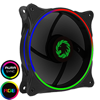 GameMax Cyclone Dual Ring RGB Fan 4 pin Header 3 Pin Power Black Gloss - Click below for large images