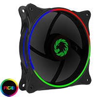 Game Max Cyclone Dual Ring RGB Fan 4 pin Header 3 Pin Power Black Gloss - Click below for large images