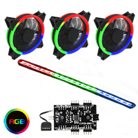 GameMax RGB Kit 3x Velocity Fans 1x Viper Strip 1x Hub 4pin Sync Brown Box - Click below for large images