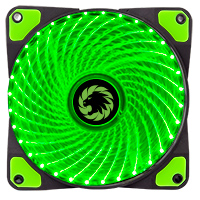 Game Max Mistral 32 x Green LED 12cm Cooling Fan - Click below for large images