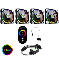 Game Max 4pin RGB Controller (SATA) with RF Touch Remote & 4 x Vortex RGB Fans - Click below for large images
