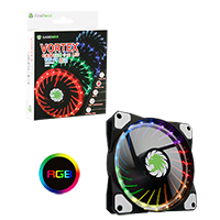 Game Max Vortex RGB 12cm Fan LED & Ring Lighting 4pin RGB Connector - Click below for large images