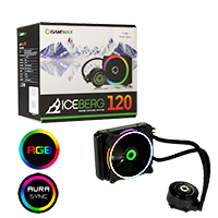 Game Max Iceberg 120mm ARGB Water Cooling System 3pin AURA Sync - Click below for large images