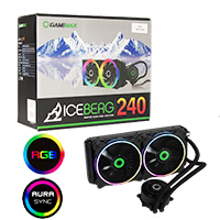 GameMax Iceberg 240mm ARGB Water Cooling System 3pin AURA Sync - Click below for large images