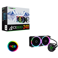 Game Max Iceberg 240mm Water Cooling System with 7 Colour PWM Fans - Click below for large images