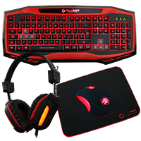Game Max Raptor Keyboard Mouse Headset Mouse Mat Kit In Red - Click below for large images