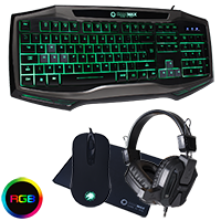 GameMax Raptor RGB Keyboard & Mouse Black Headset & Mouse Mat - Click below for large images