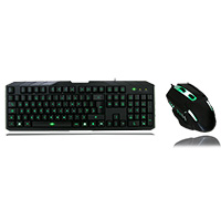 CiT Storm Black Green Backlit Keyboard and Mouse kit with Green LED White Boxed - Click below for large images