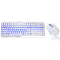CiT Storm White Blue Backlit Keyboard and Mouse kit with Blue LED White Boxed - Click below for large images