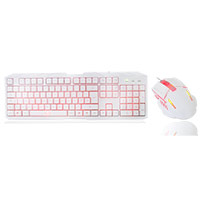 CiT Storm White Red Backlit Keyboard and Mouse kit with Red LED White Boxed - Click below for large images